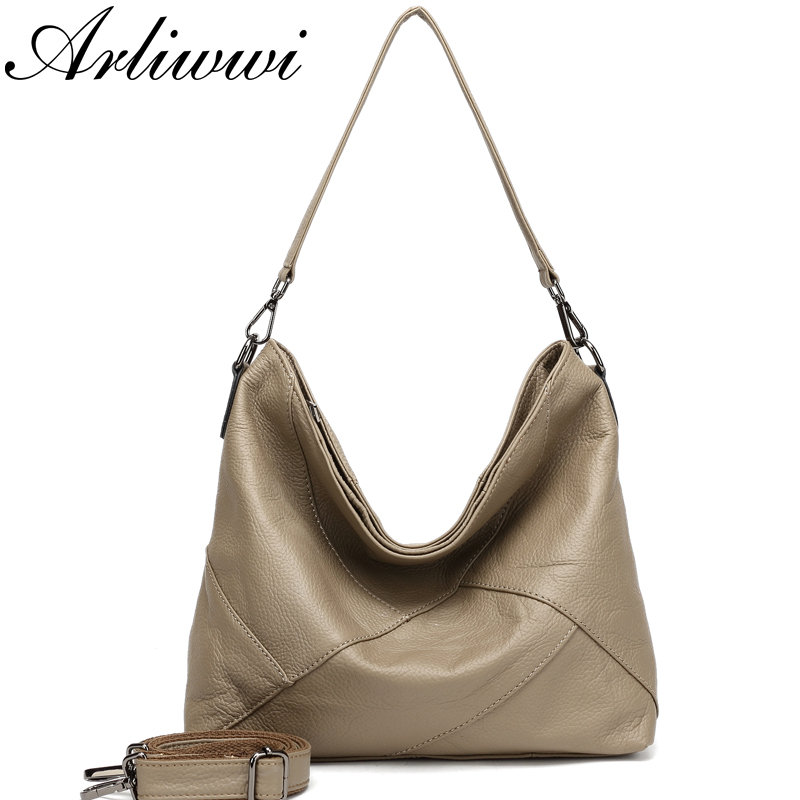 Arliwwi 100% Real Cow Leather Designer Women Shoulder Handbag Extra Soft Cowhide Genuine Leather Bags-in Top-Handle Bags from Luggage & Bags    2