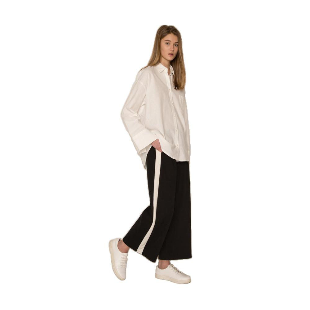 MINSUNDA Contrast Side Stripe   Wide     Leg     Pants   Black Elasticized Waist Loose Casual Trousers Women Mid Waist Elegant Long   Pants