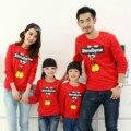 2017 nuevo otoño invierno de la familia juego clothing algodón suave camisa xxxl rojo hoodies estilo mirada familia padre madre hija hijo