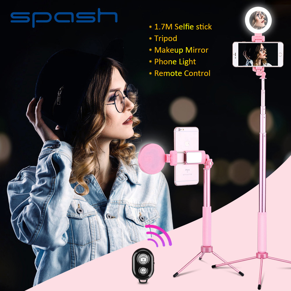spash 170cm Selfie Stick Rotating Multifunction Tripod Fill Light Bluetooth Remote Control Selfiestick for Smartphone iPhonespash 170cm Selfie Stick Rotating Multifunction Tripod Fill Light Bluetooth Remote Control Selfiestick for Smartphone iPhone