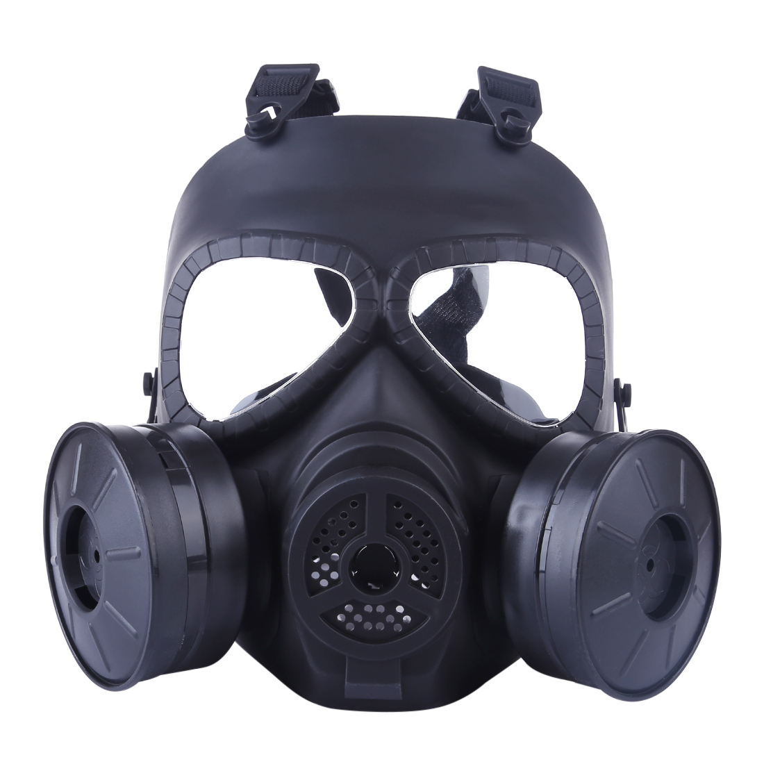 WST Paintball Tactical Head Mask Full Face Double Canister Electric Ventilative Biochemical Gas Mask For Airsoft WG Protector