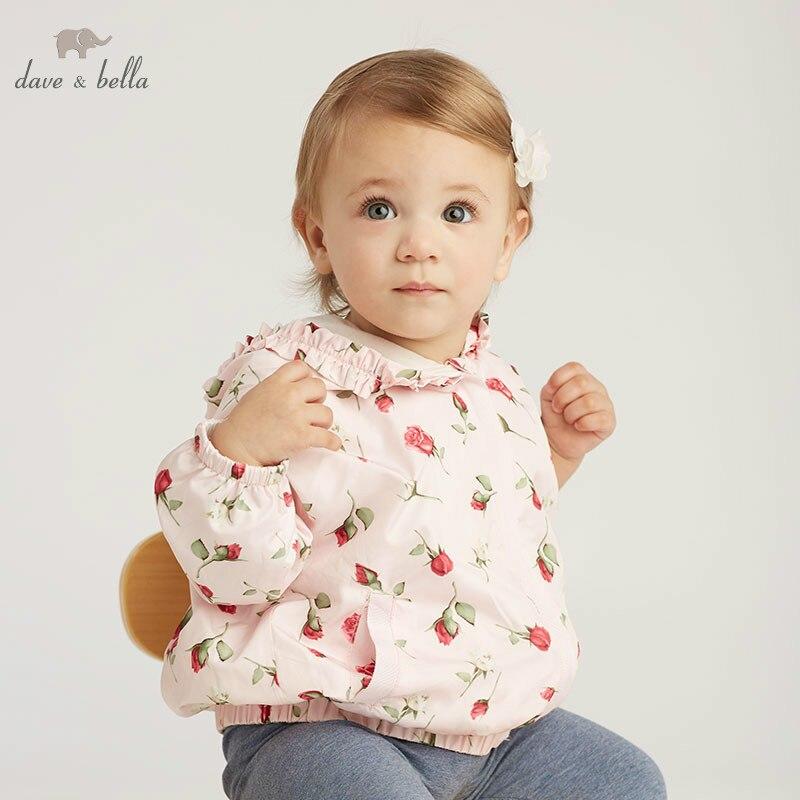 DB10501 dave bella spring baby girl lovely jacket children fashion outerwear kids floral coat