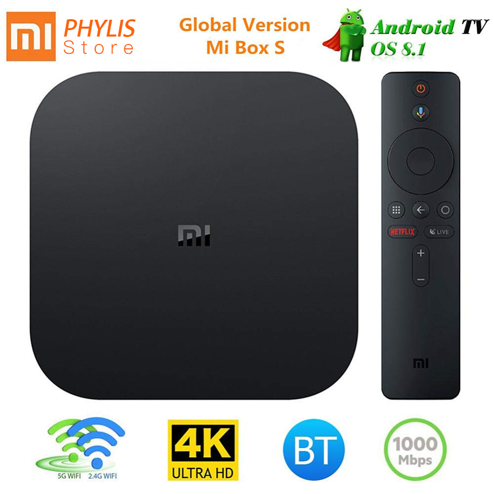Original Global Xiao mi Box S Android TV Box Smart TV 4 K HD IPTV lecteur multimédia moulé Netflix mi Box 4 pour la télévision TV cajas