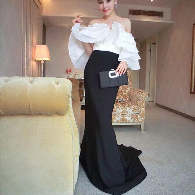Plus Size 2017 Summer Sexy Dress Women Ruffles Mermaid Self Portrait Bodycon Ladies Maxi Evening Wedding Party Long Dresses