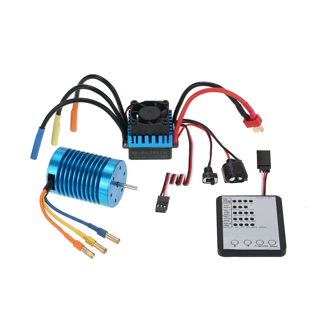 3650 3300KV/4P Brushless Motor and 45A Brushless ESC LED Programming Card Set for 1/10 Scale RC Car Toys Hobbies Parts asgharali saadia