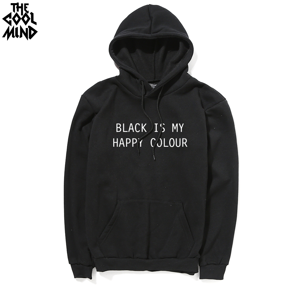 T shirt black is my happy color - The Coolmind Cotton Blend Thick Black Is My Happy Color Printed Men Hoodies With Hat Casual
