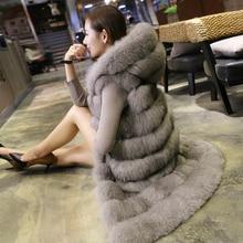 Новая мода, длинный жилет из искусственного меха лисы и норки с капюшоном, женские зимние слимы, супер длинные жилеты из искусственного меха, шуба, женские куртки