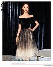 Star Sky Slender Party Dress Elegant Off Shoulder A-Line black evening dress Prom Dresses Formal