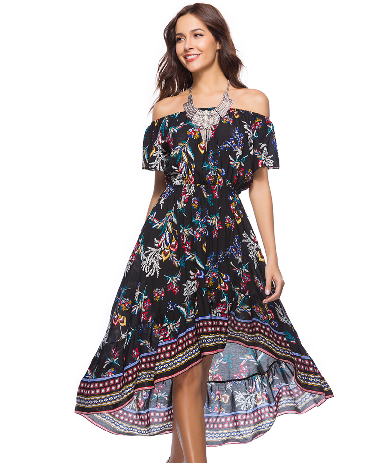Women Summer Off Shoulder Bohemian Dress Boho Mid-Calf Wrap Dresses Casual Loose Beach Floral Print Beachwear Vestidos 12