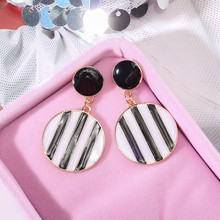 Korean Handmade Silver Needle Anti-allergy Vintage Striped Round Drop Dangle Earrings Fashion Jewelry-BYD5