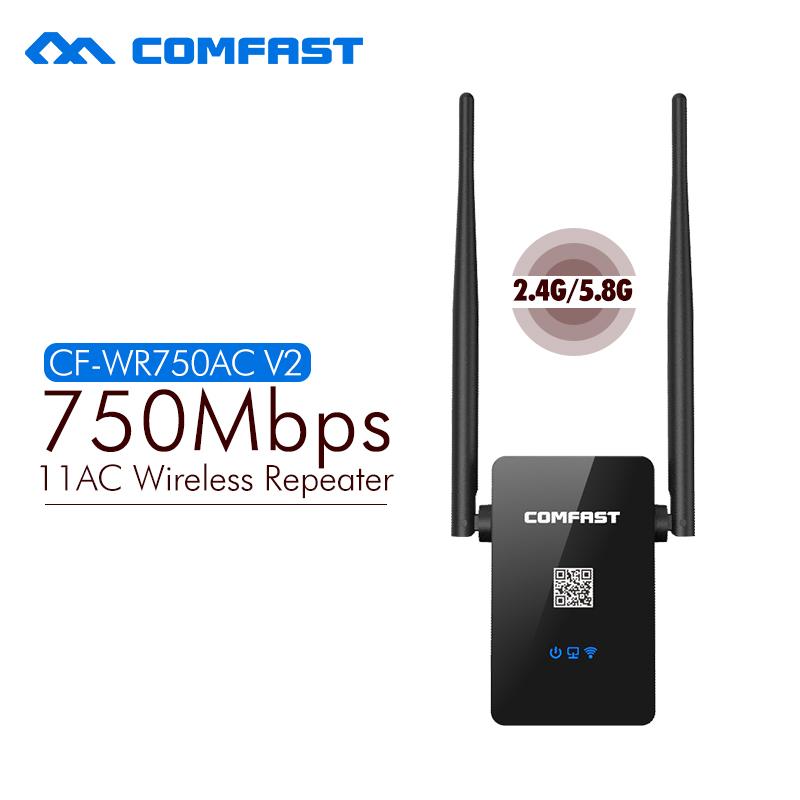Prix pour COMFAST Double Bande Wifi Répéteur 750 M 802.11AC 2.4G/5.8G wifi Routeur Wi-fi Roteador Expander wifi CF-WR750AC-V2 ac wifi répéteur