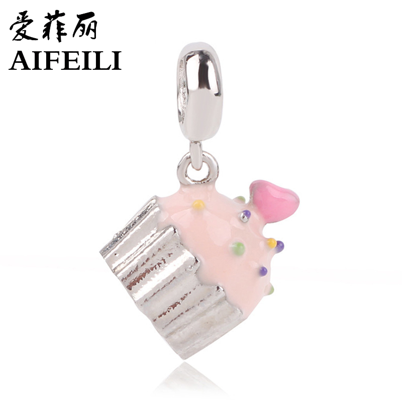 AIFEILI Silver Color Charm Charms Happy Birthday Cake Candles Pendants Fit Pandora Bracelets DIY Jewelry Makings