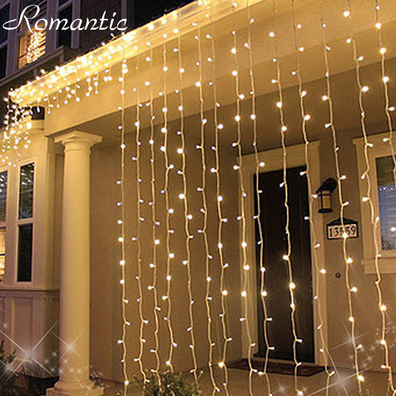 3*3M 300Leds Icicle Curtains String Light Outdoor Warm White Wedding ...