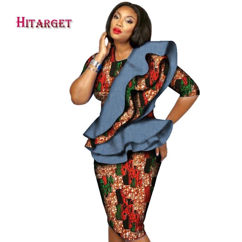 2019 africain Bazin Riche imprimer Kanga vêtements 2 pièces jupe ensembles pour femmes africain haut court et volants Ruches jupe ensembles WY2584