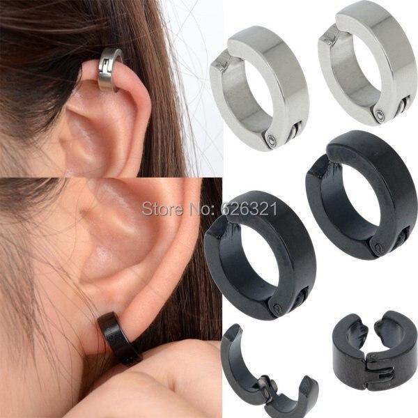 1pair Men S Stainless Steel Ear Stud Cuff Hoop Non Piercing Clip On Earrings Punk