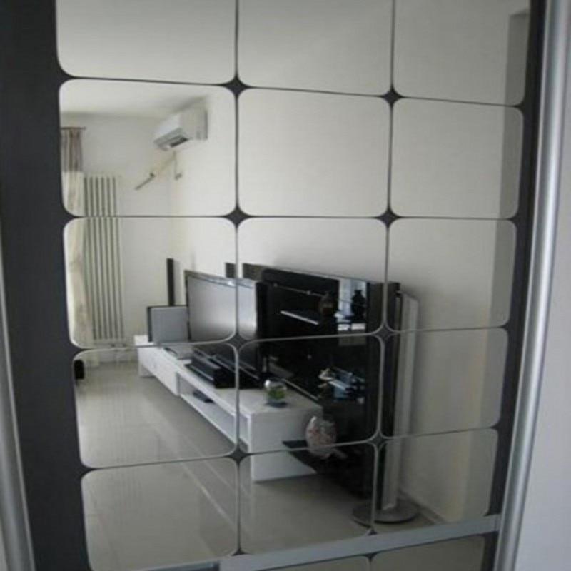 Funlife kualitas Tinggi cermin stiker dinding akrilik 6 * 15x15 cm decals persegi stiker dinding ruang tamu kamar tidur