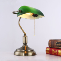 Free shipping antique vintage movie table lamp green glass cover bronze iron base study lights old fashioned lighting