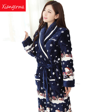 Xiangerma Luxury Folder Cotton Flannel Winter Pajamas Ms Triple Thick Warm Pyjamas Santa Claus Robes/Set Gift Sapphire Blue