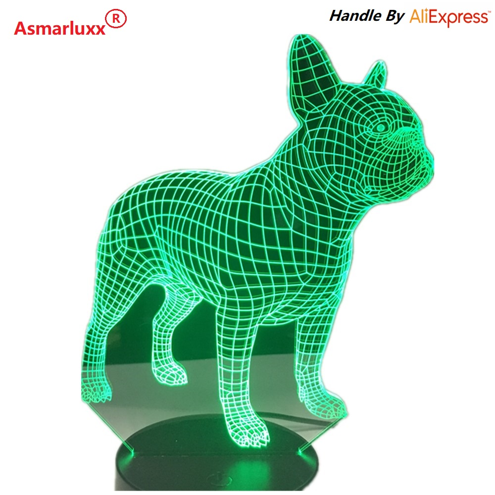Poważnie Buldog francuski 3D LED Lampka nocna 7 Kolory USB Hologram Decor EB04