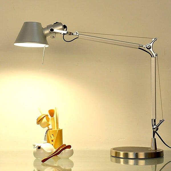 Longo braço oscilante lâmpada de mesa conduziu a lâmpada de mesa escritório conduziu a luz de leitura para casa lâmpada de mesa led lâmpada de mesa clipe