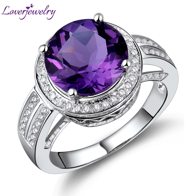 Vintage Round 10mm Natural Diamond 14K White Gold Amethyst Ring for