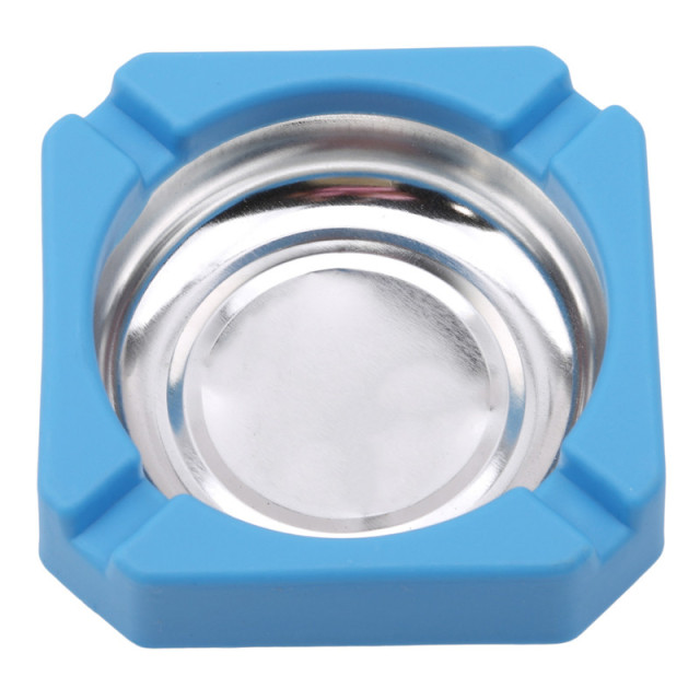 2018 New Creative Candy Colored Plastic Stainless Steel Square Edging Ashtray Home Office Advertising Cigarette Accessories