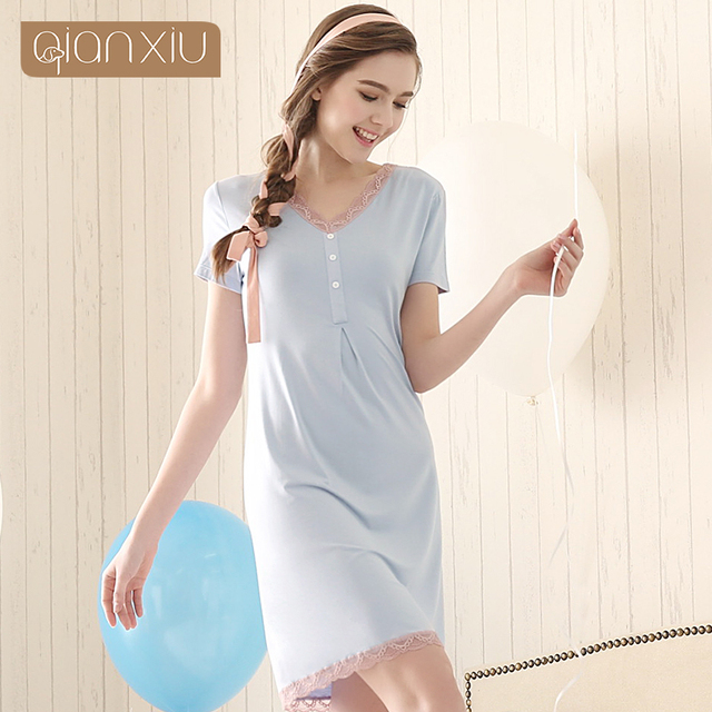 2016 New Arrival Modal Nightgown For Girl Knee-length V-neck Sleepwear Sexy Lace Sleepshirts