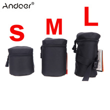 Andoer Acolchoada À Prova D Água Protector Camera Lens Bag Bolsa para DSLR Nikon Canon Sony Lentes Preto Tamanho S M L