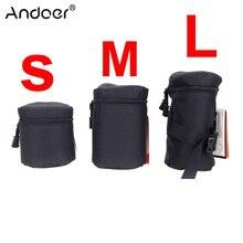 Andoer Wasserdicht Gepolsterte Schutz Kamera Objektiv Tasche Fall Beutel für DSLR Nikon Canon Sony Linsen Schwarz Größe S M L