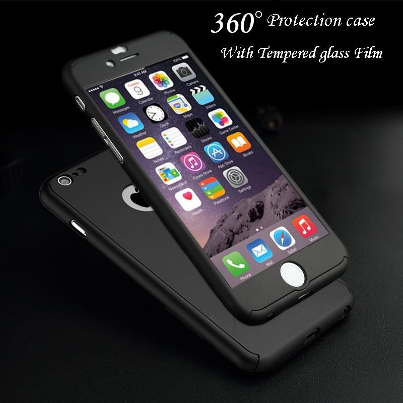 360 Degree Full Body Protection Cover Show Logo Case For iPhone 5 5S SE 6 6S 7 Plus 6S Plus