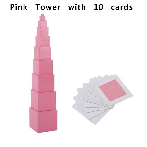 Free Shipping!Baby Toys Montessori Pink Tower with 10 cards Toys Baby Educational Early Learning Toys Building Blocks Gift baby plastic intelligence sticks educational building blocks toys handmade diy montessori lepin early learning gifts 120pcs