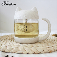 Creative Japanese Harajuk Transparent Glass Tea Mug With Infuser Cute Cat Monkey Heat Resistant Tea Cup