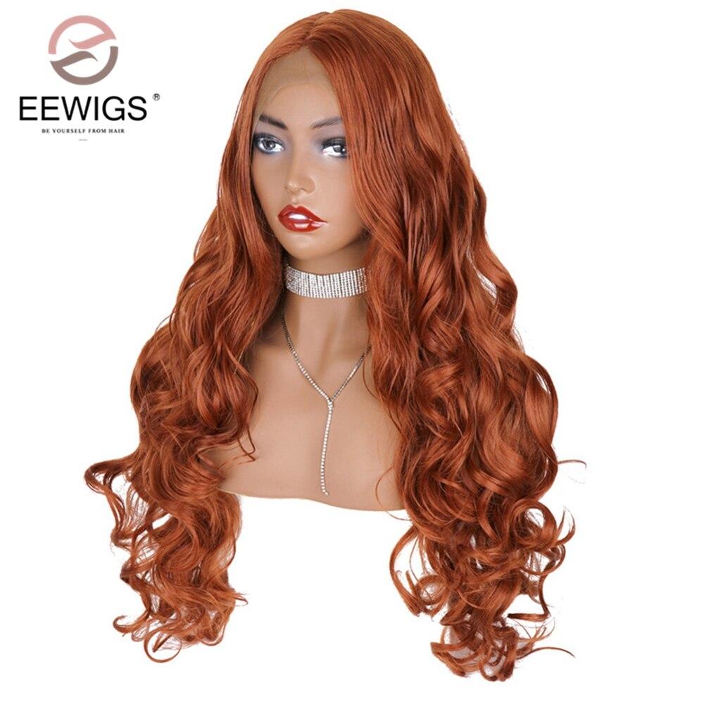Eewigs #350 Di Colore Di Rame Rosso Parrucca Anteriore Del Merletto Sintetica Di Alta Temperatura In Fibra Di Ondulata Lunga Arancione Parrucche Con Natural Linea Sottile