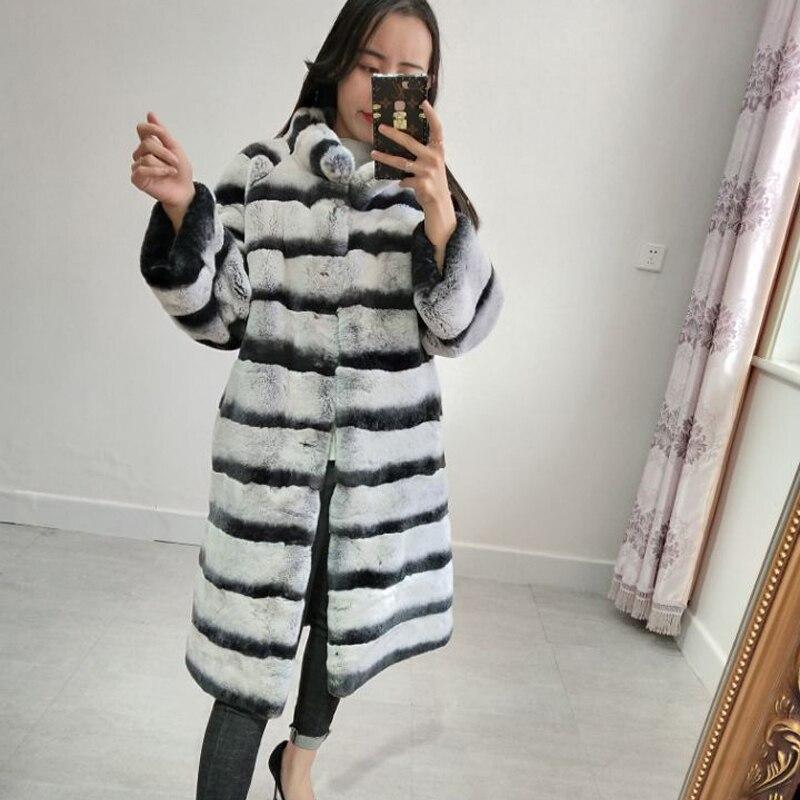 Luxe haute qualité chinchilla manteau de fourrure dames rex lapin manteau col col en cuir chaud veste
