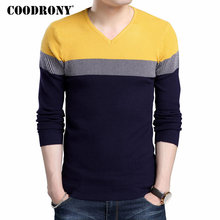 COODRONY Sweater Men Casual Hit Color V-Neck Pull Homme Knitwear Pullover Men Autumn Winter Soft Warm Slim Fit Sweaters Top 8166