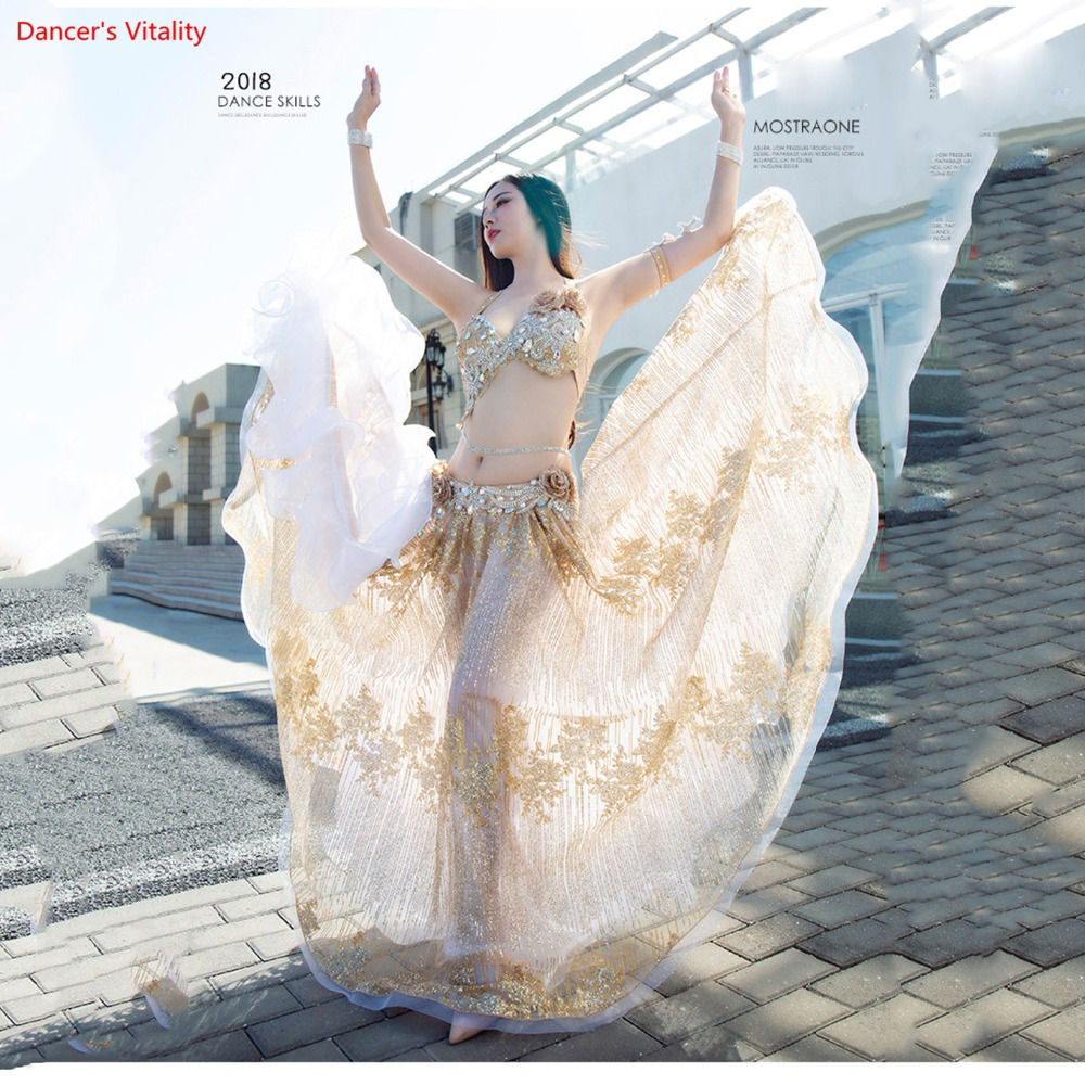 New Luxury Custom Made Belly Dance Show Costume Big Swing Long Skirt Oriental Dance Competition Suit
