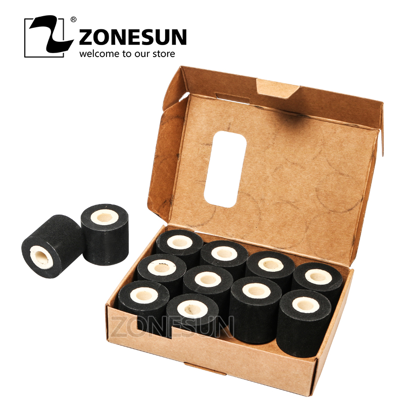 ZONESUN 36*32MM (10pieces/lot) 100% Sponge Ink Roller Solid Coding Machine Rolls Blank Hot Coding Ink Roll Color Hot Ink Roll