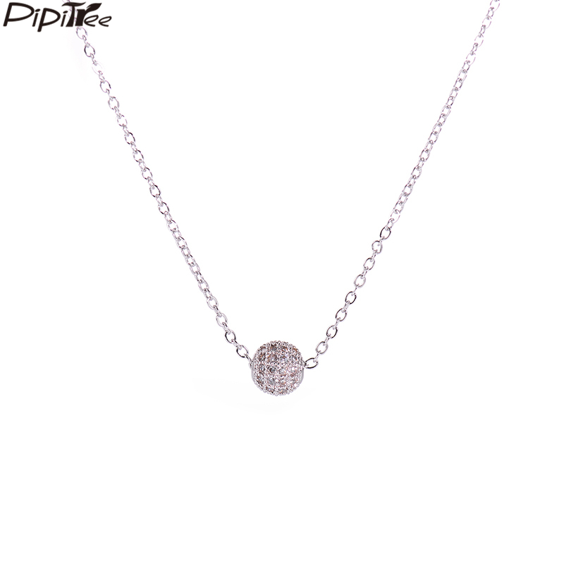 Pipitree Simple Shiny 10mm AAA Cubic Zirconia Crystal Ball Pendant Necklace AAA Copper Chain Choker Necklaces for Women Jewelry