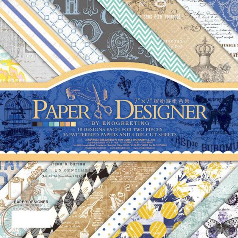 7'' Single-side Printed Pattern Background Craft Paper Origami Scrapbooking Paper Set Of 40 Sheets Card Making Damask Scrapbook