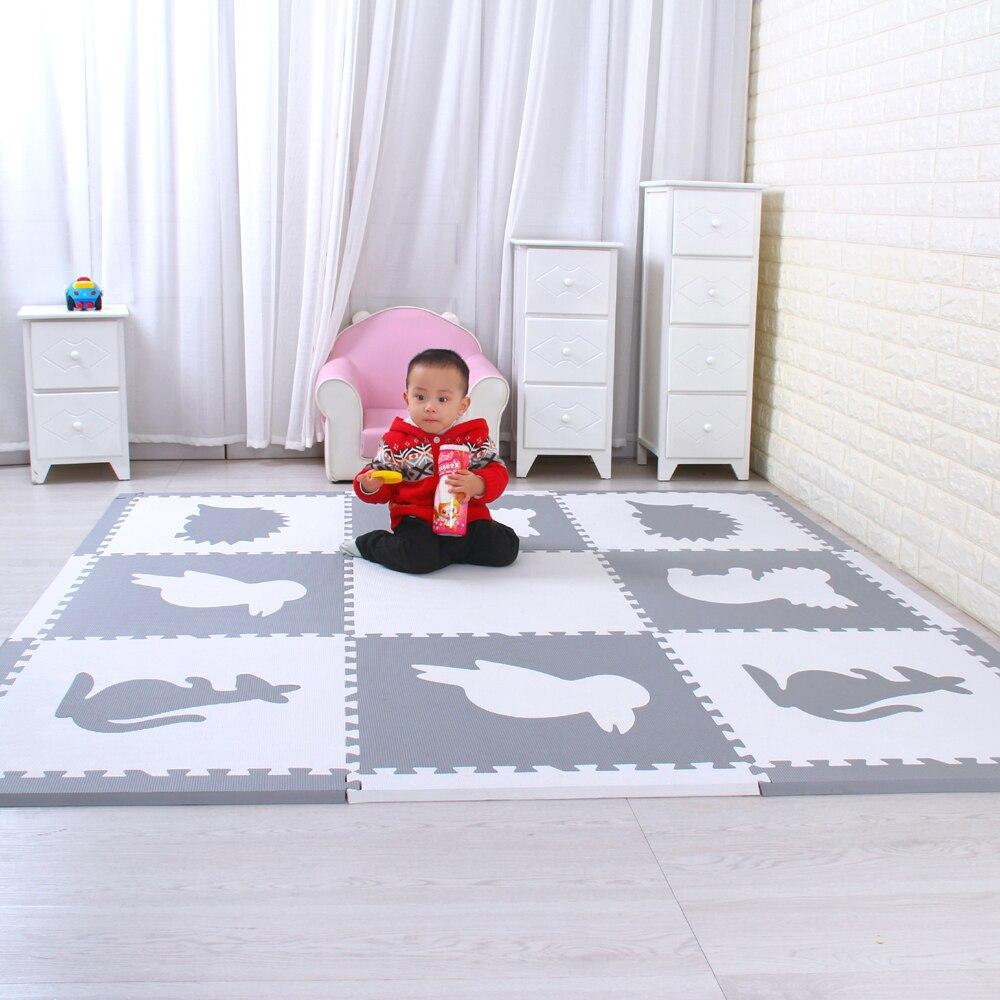 Mei qi cool โฟมสัตว์สัตว์เล่นชุดเด็กทารกเล่นเสื่อเด็กเล่นเสื่อปริศนา 9 ชิ้นแต่ละชุด 60x60cm * 1.4 ซม.-ใน เสื่อสำหรับเล่น จาก ของเล่นและงานอดิเรก บน   1