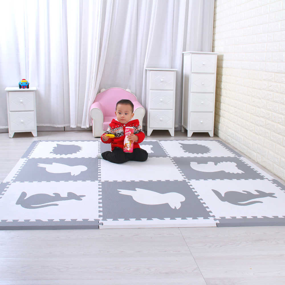 Mei qi прикольный коврик в виде животных, игровой коврик в виде животных, наборы детских домашних игровых ковриков, детские игровые коврики-пазлы, 9 шт каждый набор 60х60см * 1,4 см