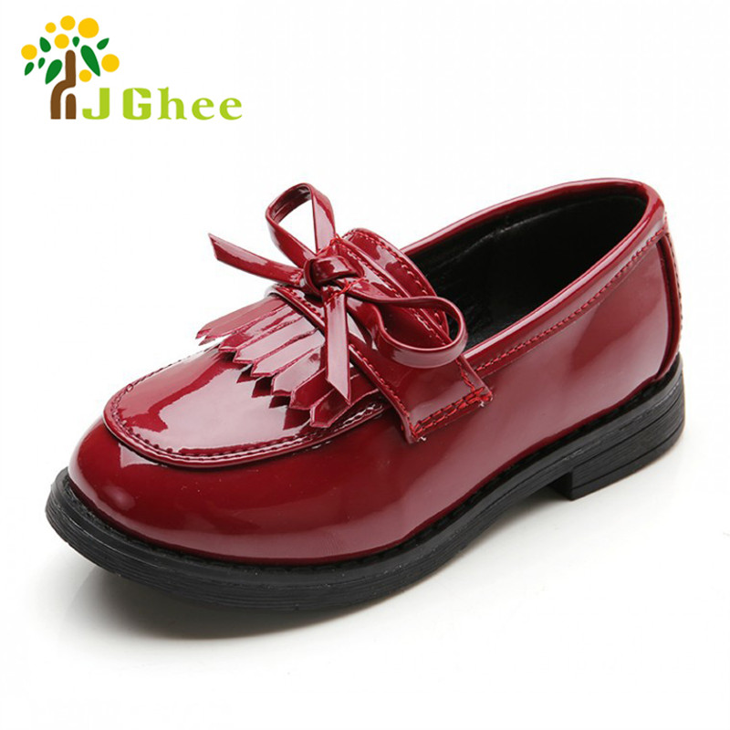 2020 Autumn New Fashion Girls Shoes Kids Single Shoes Children's Casual Sneakers Tassel PU Patent Leather With Bowtie