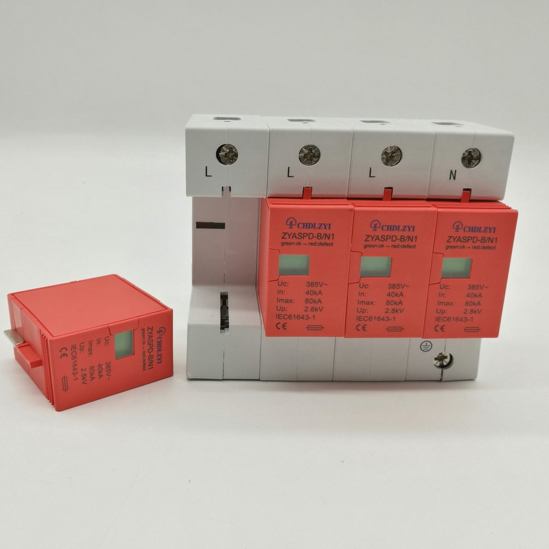 SPD  3P+N   40KA~80KA  ~385VAC  2.5KV  House Surge Protector Protection Protective Low-voltage Arrester Device paule ka водолазки