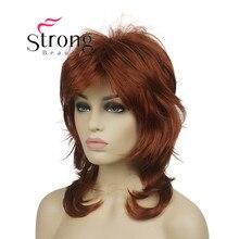 """StrongBeauty peluca sintética de 16 """", peluquín de color rubio larga y esponjoso"""