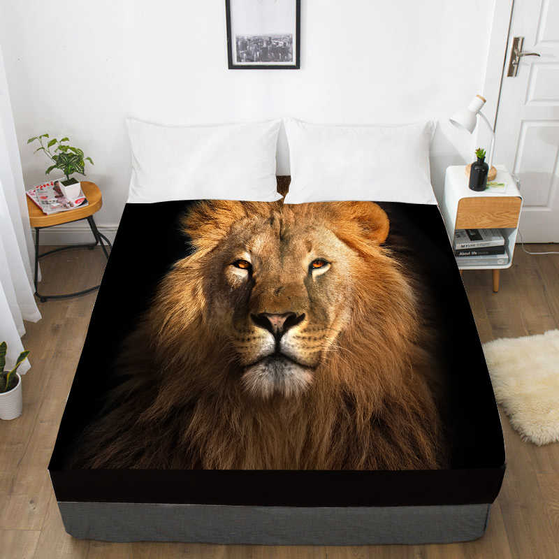 3D Print Custom Bed Sheet With Elastic,Fitted Sheet Queen/King,Animal Black lion Mattress Cover 160x200/150x200,drop ship