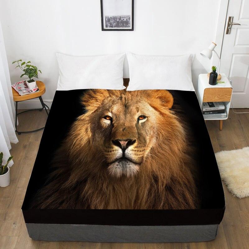 Folha de cama feita sob encomenda da cópia 3d com elástico, rainha cabida da folha/rei, cobertura preta animal do colchão do leão 160x200/150x200, navio da gota