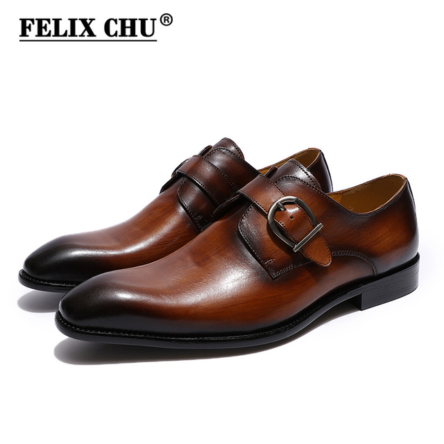 c9c62bbaec8 FELIX CHU European Style Handmade Genuine Leather Men Brown Monk Strap  Formal Shoes Office Business Wedding Dress Loafer Shoes