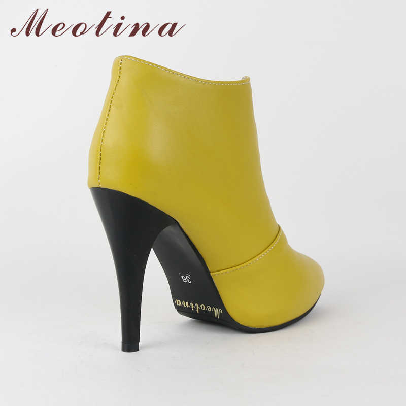 Meotina Kadın yarım çizmeler Platformu Yüksek Topuklu Fringe Çizmeler Bahar Sivri Burun seksi ayakkabılar 2018 Kadın Çizme Büyük Boy 46 Sarı