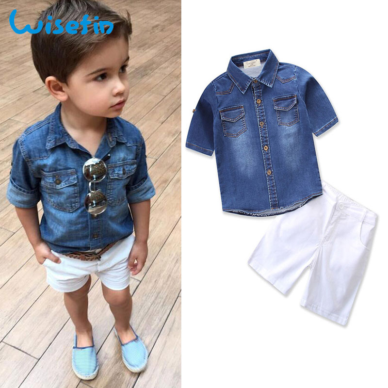 Wisefin Baby Boy Clothes Sets Summer Denim Shirt Short Sleeve+White Shorts Toddler Kids Outfits Boy Blouse Children Clothing Set factory wholesale price new design toddler boy clothing set summer fish embroidery boutique shorts baby remake outfits set