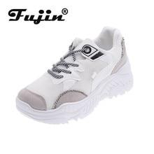 Fujin Women Casual Shoes Autumn Mesh Dropshipping Flats Platform Lace-Up Fashion Breathable Sneakers Woman